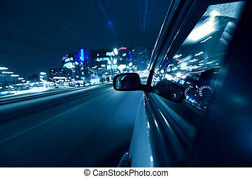 noturna, car, conduzir