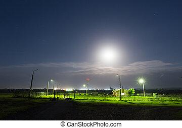 noturna, casa, sob, relógio, lua, luz