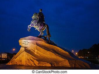 noturna, cavaleiro, chuva, saint-petersburg, rússia, bronze