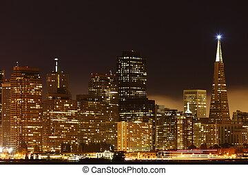 noturna, /, centro cidade, san, eua, vista, alto, acima, francisco