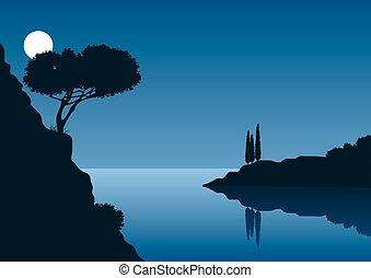 noturna, cheio, paisagem, litoral, lua