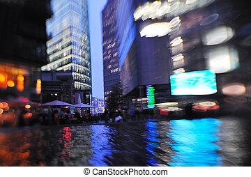 noturna, cidade, movimento, ocupado, carros, luz, obscurecido, rua