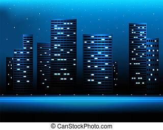 noturna, cidade, paisagem
