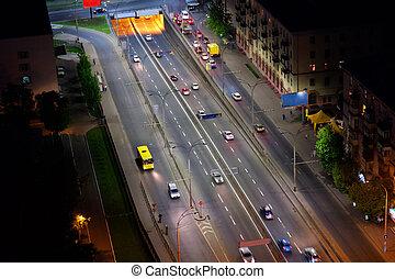 noturna, cidade, vista aérea, kyiv, ucrânia
