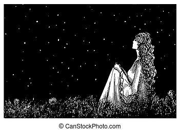 noturna, dandelion, campo, e, escuro, céu estrelado