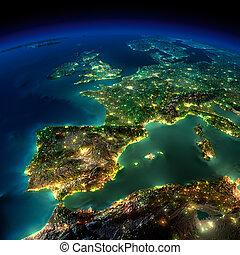 noturna, earth., um, pedaço, de, europa, -, espanha, portugal, frança