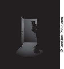 noturna, espião, ou, ladrão, sneaking dentro