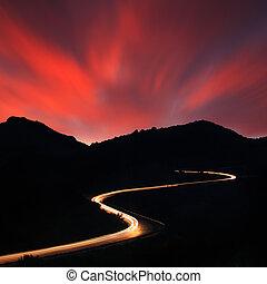 noturna, estrada