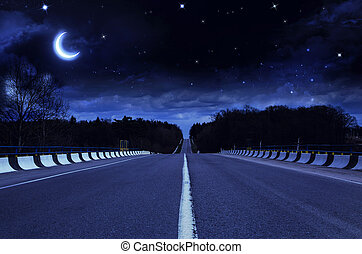 noturna, estrada, exterior, cidade