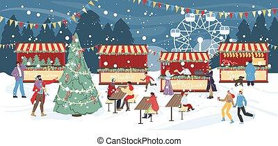 noturna, feriado, natal, feira, tradicional, inverno
