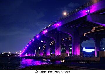 noturna, flórida, miami, vista, a1a, ponte