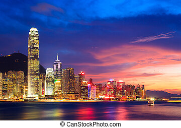 noturna, hong, china, skyline, kong