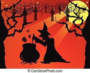 noturna, ligado, dia das bruxas
