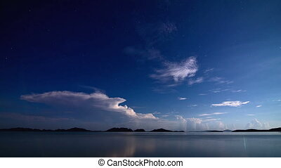 noturna, mar, tempestade, lapso tempo