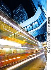 noturna, modernos, tráfego, cidade