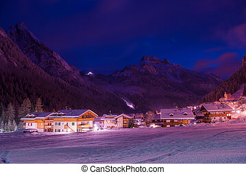 noturna, montanha, alpes, vila