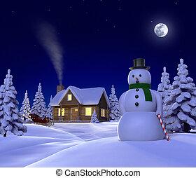 noturna, mostrando, themed, sleigh, cene, neve, boneco neve, natal, cabana