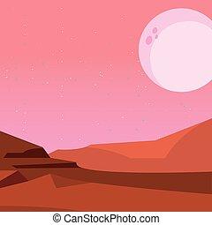 noturna, natural, paisagem deserto, lua