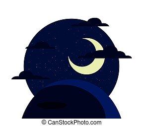 noturna, nuvens, paisagem, lua