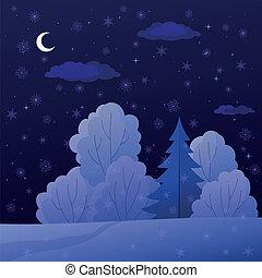 noturna, paisagem, floresta, inverno