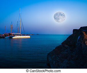 noturna, paisagem, mar, lua