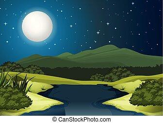 noturna, paisagem, rio