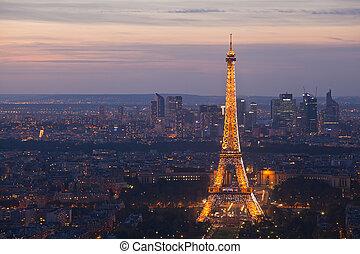 noturna, paris., france., topo, vista.
