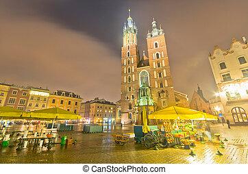 noturna, quadrado, mercado,  Krakow, Polônia