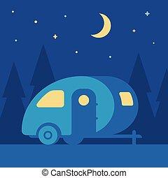 noturna, reboque, acampamento
