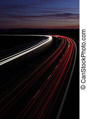 noturna, rodovia, (speedway)
