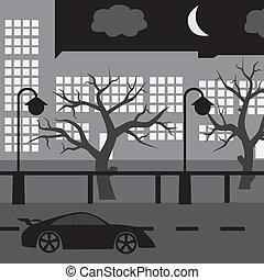 noturna, rua, com, car, árvore, e, edifícios, eps10
