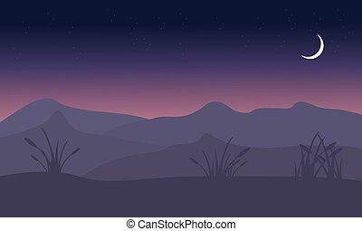 noturna, silueta, colina, paisagem, lua