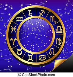 noturna, sinal, céu, signos, gold(en), constelação, círculo