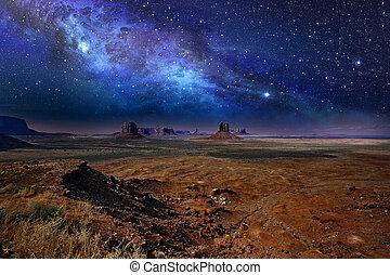 noturna, sobre, monumento, céu estrelado, vale