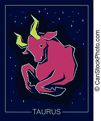 noturna, touro, céu, sinal, signos, experiência.