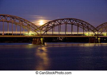 noturna, trem, ligado, ferro, ponte