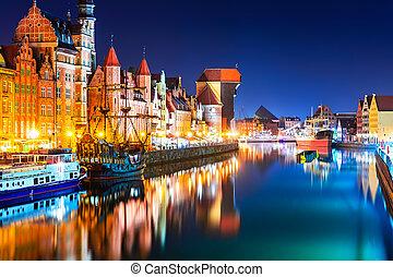 noturna, vista, de, a, cidade velha, de, gdansk, polônia