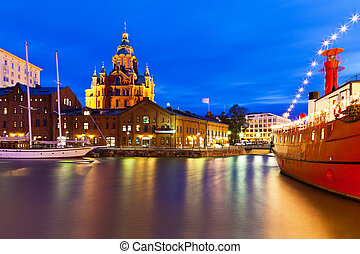 noturna, vista, de, a, cidade velha, em, helsínquia, finland