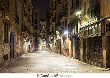 noturna, vista, de, antigas, rua, em, barcelona