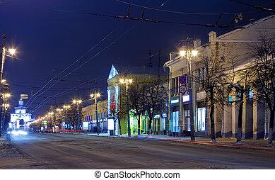 noturna, vista, de, wintry, rua