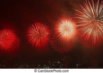 noturna, vista, fogos artifício, tailandia, pattaya, praia, ...