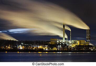 noturna, vista, industrial