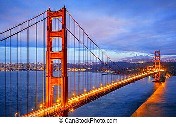 noturna, vista, portão, famosos, dourado, ponte