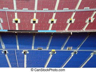 Nou Camp Stadium - Rows of seating in stadium, Nou Camp,...