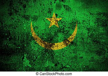 nouakchott, drapeau mauritanie, grunge, capital