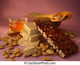 Nougat made with honey, almonds and chocolate