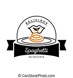 nouille, bouche, délicieux, plat, logo, spaghetti, manger