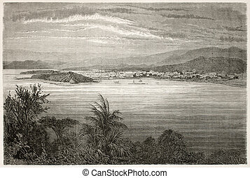 Noumea bis - Numea old view, New Caledonia. Created by ...