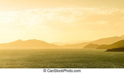 noumea, linea costiera, tramonto