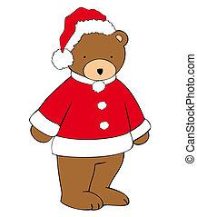 nounours-soutenir, claus, santa, hat.